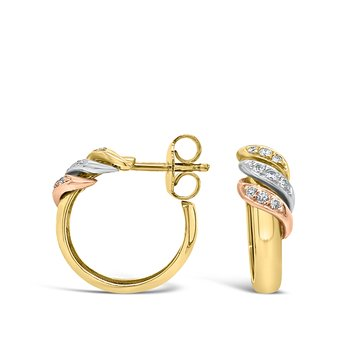 Tri Gold Diamond Hoop Earrings