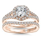 Caro74 Diamond Engagement Ring Mounting in 14K Rose Gold with Platinum Head (.53 ct. tw.)