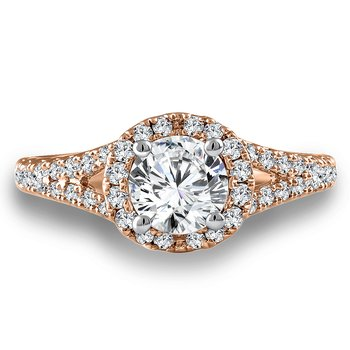 Diamond Engagement Ring Mounting in 14K Rose Gold with Platinum Head (.53 ct. tw.)