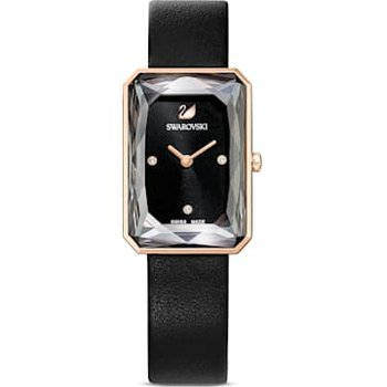 Uptown Watch, Leather strap, Black, Rose-gold tone PVD