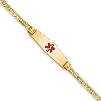 14K Medical Soft Diamond Shape Red Enamel Anchor Link Child ID Bracelet