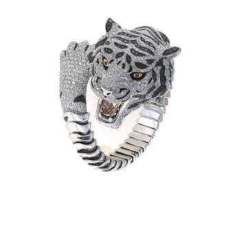 18KT GOLD LIMITED EDITION DIAMOND AND SAPPHIRE TIGER BANGLE