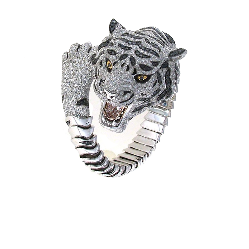 Roberto Coin 18Kt Gold Limited Edition Diamond And Sapphire Tiger Bangle