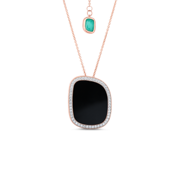 18KT GOLD PENDANT WITH BLACK JADE, AGATE AND DIAMONDS