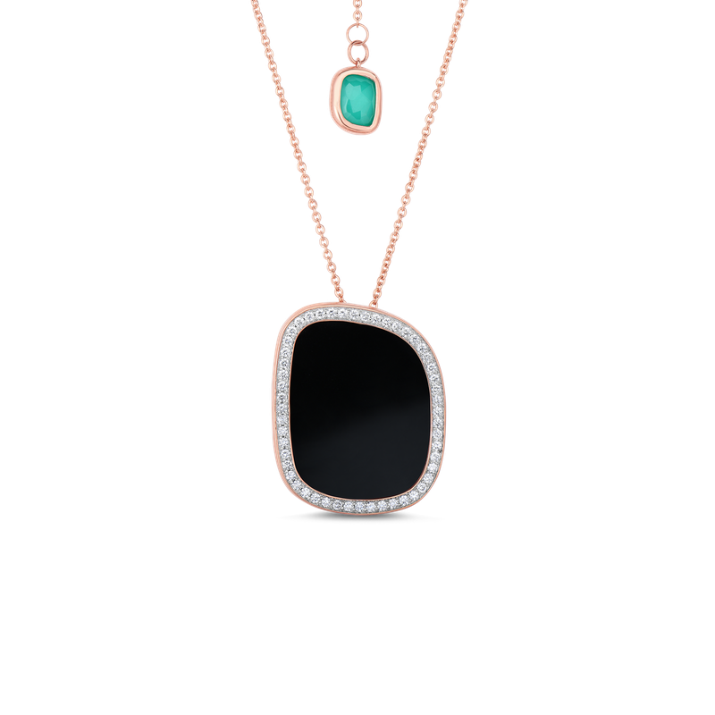 Roberto Coin Pendant With Black Jade, Agate, And Diamonds