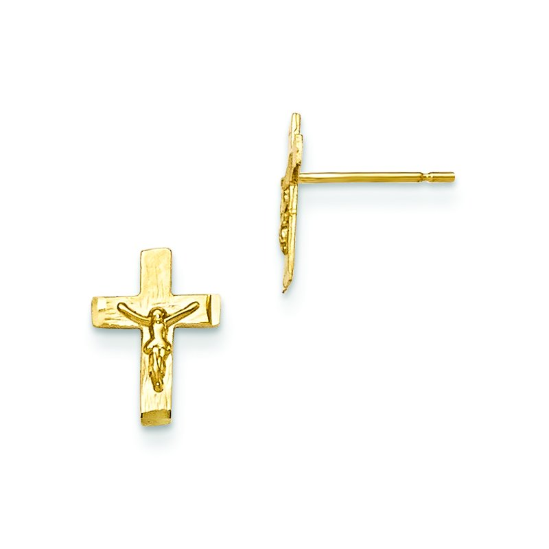 Quality Gold 14k Madi K D/C Children's Crucifix Post Earrings
