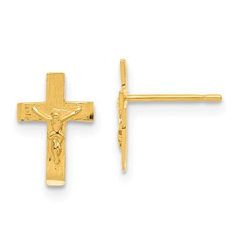 14k Madi K D/C Children's Crucifix Post Earrings