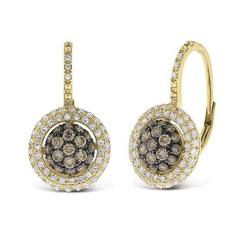 Champagne And White Diamond Small Circle Earrings in 14k Yellow Gold with 140 Diamonds weighing .75ct tw.
