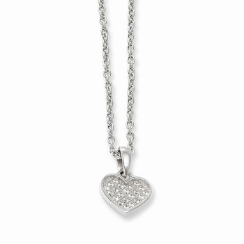 SS Rhodium-Plated CZ Brilliant Embers Heart w/2in ext Necklace