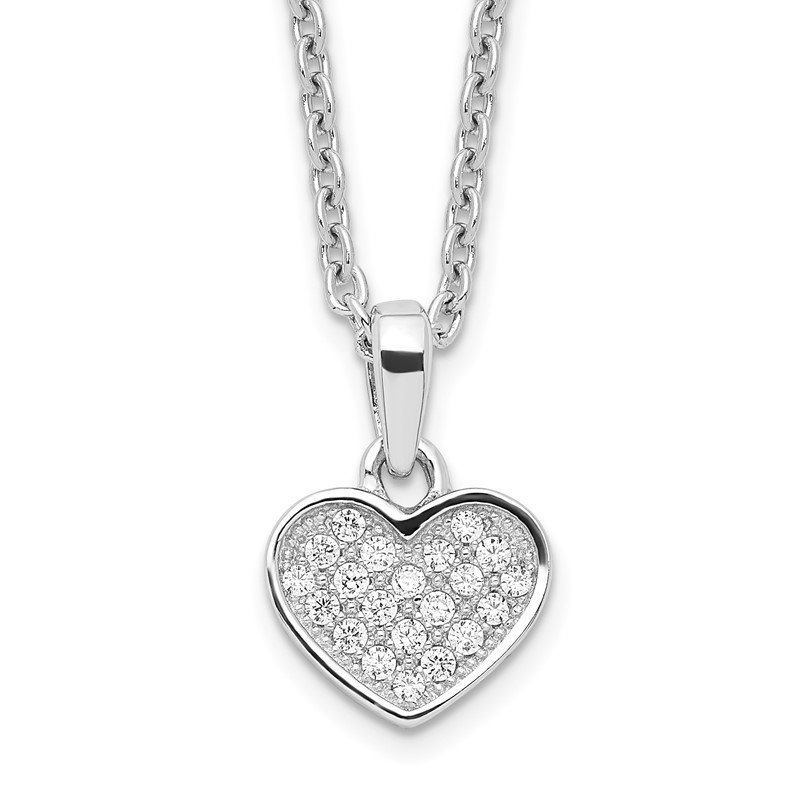 Quality Gold SS Rhodium-Plated CZ Brilliant Embers Heart w/2in ext Necklace