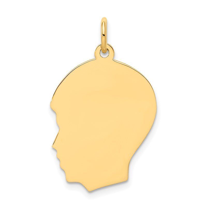 Quality Gold 14k Plain Medium .011 Gauge Facing Left Engravable Boy Head Charm
