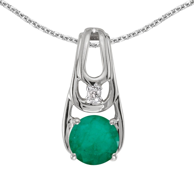 14k White Gold Round Emerald And Diamond Pendant