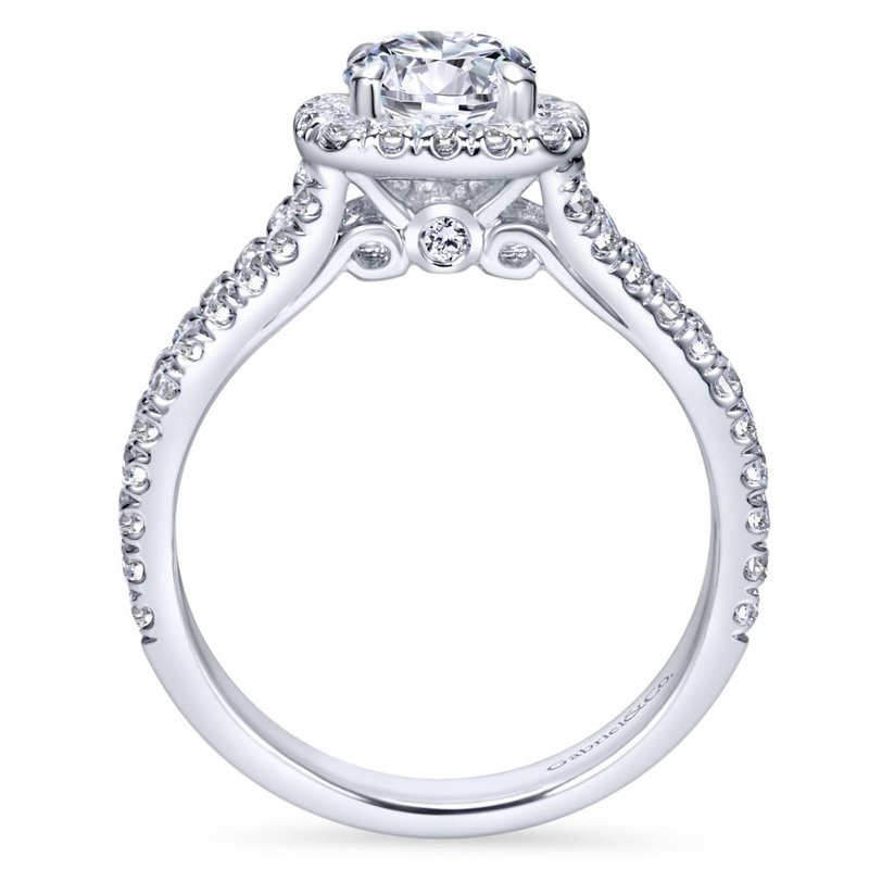 Gabriel Bridal Bestsellers 14K White Gold Round Halo Diamond Engagement Ring
