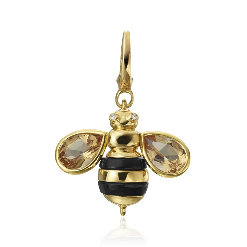 "Gumuchian Honeybee ""B"" Diamond & Citrine Honeybee Charm CH313BY"