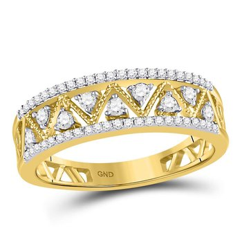 10kt Yellow Gold Womens Round Diamond Double Row Zigzag Band Ring 1.00 Cttw