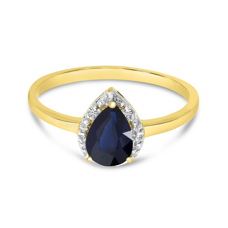 Color Merchants 14k Yellow Gold Pear Sapphire And Diamond Ring