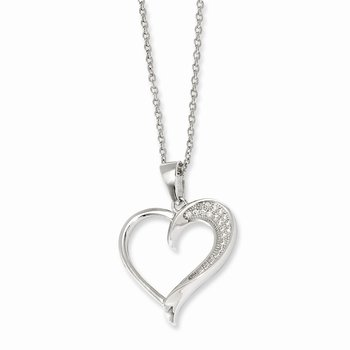 Sterling Silver Brilliant Embers Rhodium-plated CZ Polished Heart Necklace