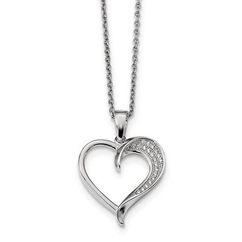 SS Rhodium-Plated CZ Brilliant Embers Polished Heart Necklace