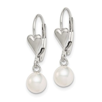 Sterling Silver Rh-plated 6-7mm White FW Cultured Pearl Leverback Earrings