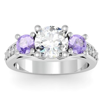 Three Stone Tanzanite Pave Set Diamond Ring
