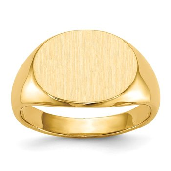 14k 12.0x16.0mm Closed Back Men's Signet Ring