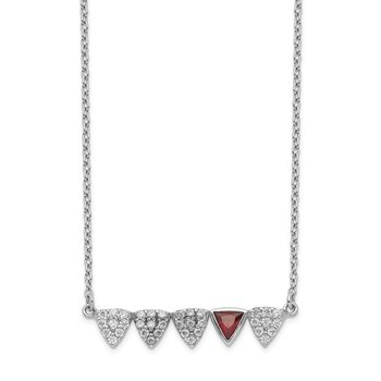 Sterling Silver Rhodium-plated w/Red and White CZ 16in Bar Necklace