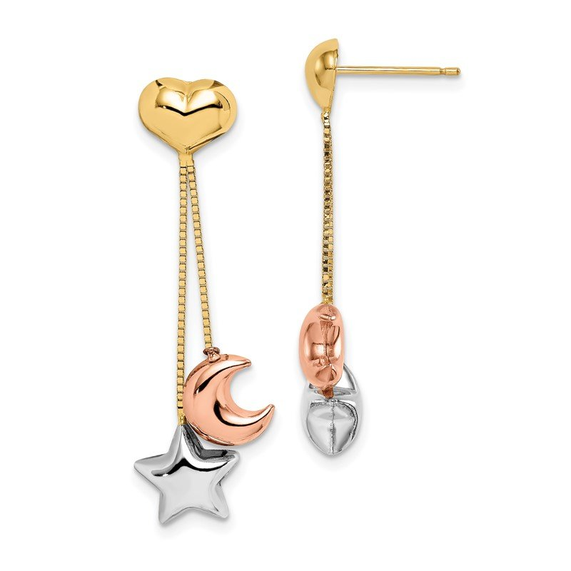 Quality Gold 14k Madi K Tri-color Heart, Star & Moon Dangle Post Earrings