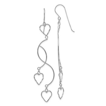 14K White Gold Diamond-cut Curved Bars & Heart Earrings