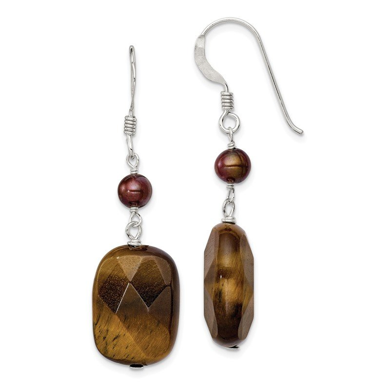 Quality Gold Sterling Silver Tigers Eye and Golden FW Cultured Pearl Earrings