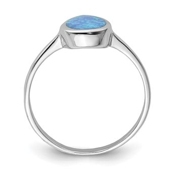 Sterling Silver Rhodium-plated Polished Teardrop Synthetic Opal Ring