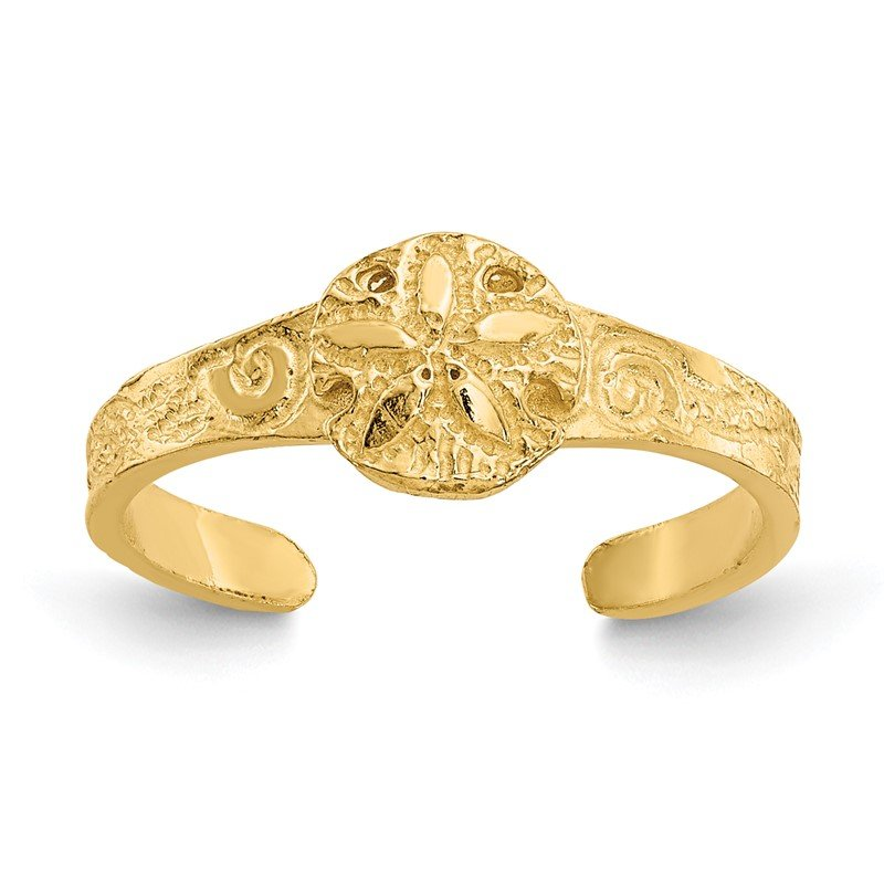 Quality Gold 14K Diamond-cut Sand Dollar Toe Ring