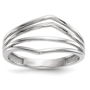 14k White Gold Polished 4-Bar Ring