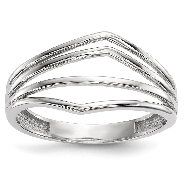 Quality Gold 14k White Gold Polished 4-Bar Ring