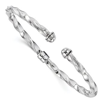 Leslie's 14k White Gold Polished Textured Hinge Cuff Bangle