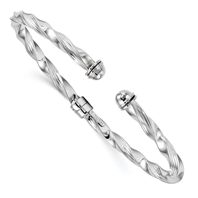 Leslie's Leslie's 14K White Gold Polished Textured Hinge Cuff Bangle