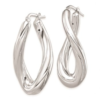 Sterling Silver Polished Rhodium Plated Twisted Oval Hoop Earrings