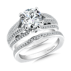 Valina Bridals Mounting with side stones .48 ct. tw., 2 ct. round center.