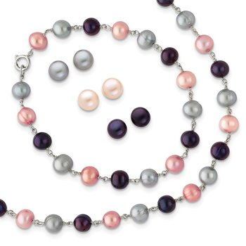 Sterling Silver RH Grey/Pink/Black FWC Pearl Neck/7.25 Brace/3pc Earring