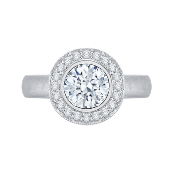 18K White Gold Carizza Semi Mount Engagement Ring