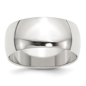 Sterling Silver 9mm Half-Round Band