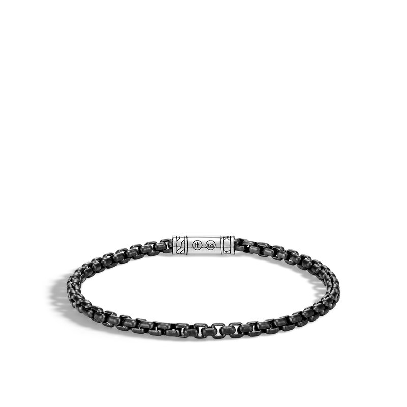 JOHN HARDY Classic Chain 4MM Box Chain Bracelet in Blacked Silver