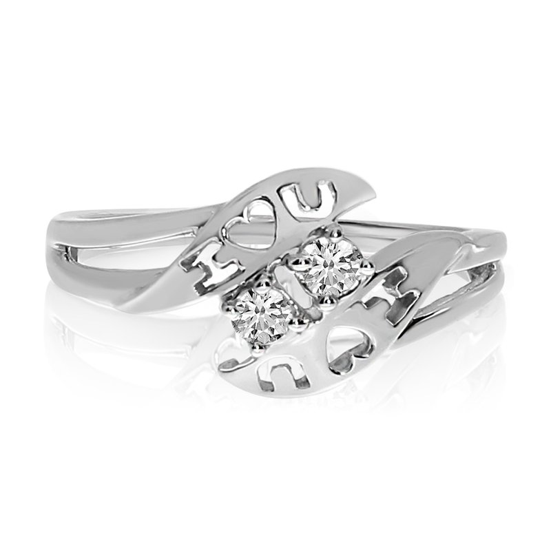 Color Merchants 14k White Gold I Love You Two Stone Diamond Ring Marks Jewelers