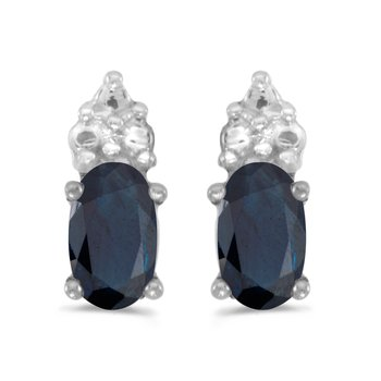 14k White Gold Oval Sapphire Earrings