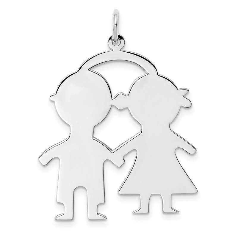 Quality Gold SS Rh-plt Engraveable Boy/Girl Polished Front/Satin Back Disc Charm