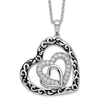 Sterling Silver CZ Antiqued My Blended Family 18in. Necklace