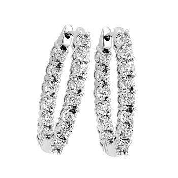 Diamond Starburst Inside Out Oval Hoop Earrings in 14k White Gold (1/2 ctw)