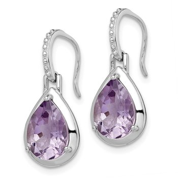 Sterling Silver Rhodium-plated Amethyst Teardrop Dangle Earrings