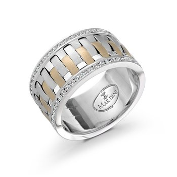 A dazzling 12mm two-tone white and yellow gold interweaved center band, embelished with 98X0.01CT diamonds