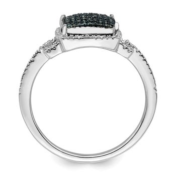 Sterling Silver Rhodium Plated Blue Diamond Ring