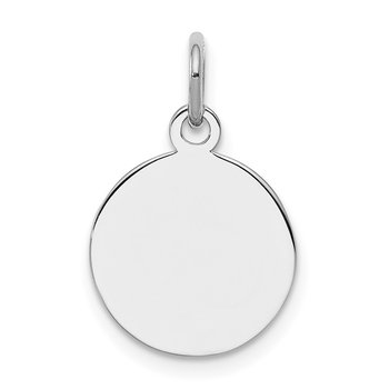 SS Rh-plt Engraveable Round Polished Front/Satin Back Disc Charm